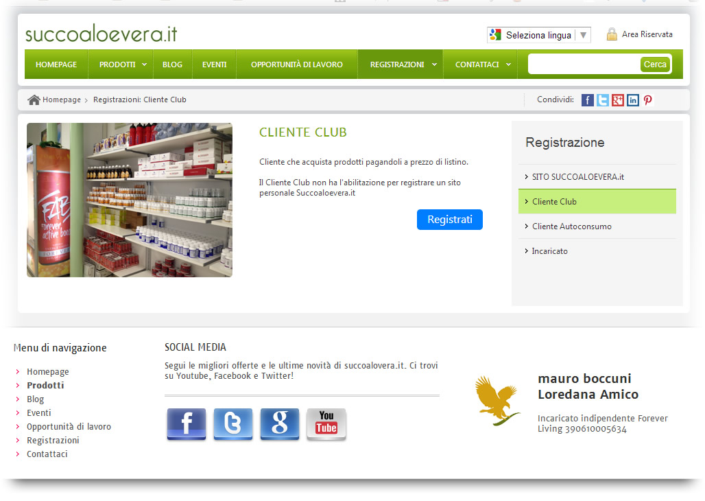 Come si diventa Cliente Club Forever Living
